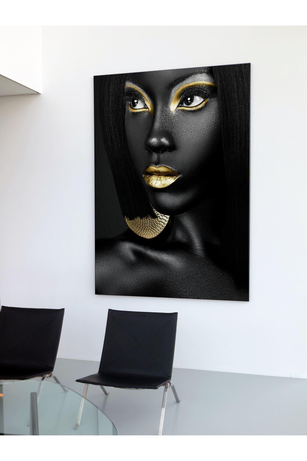 Black Skin Woman And Golden Makeup, Siyah Tenli Kadın Ve Altın Makyaj