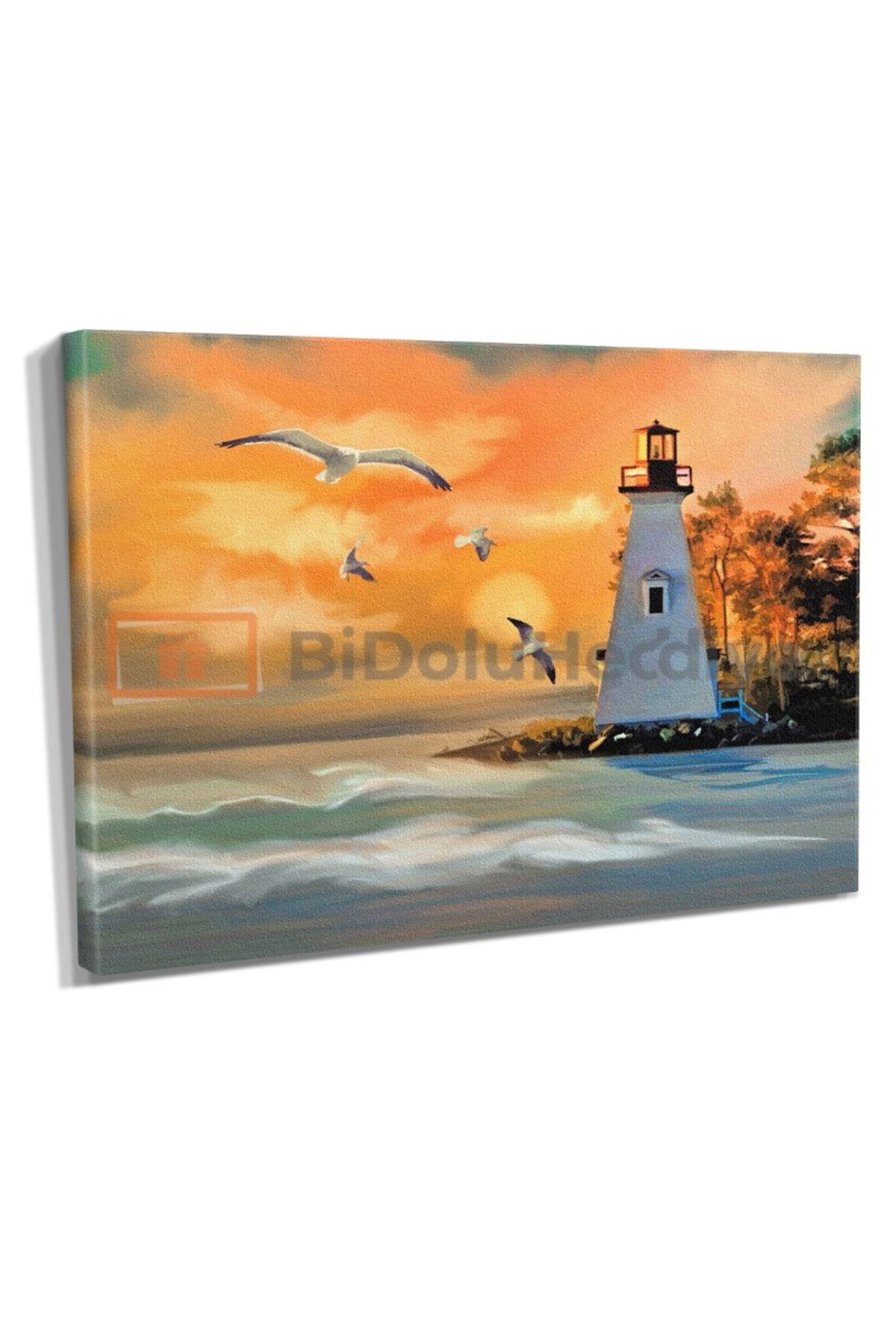 Yağlı Boya Görünümlü Deniz Feneri ve Martılar Kanvas Tablo