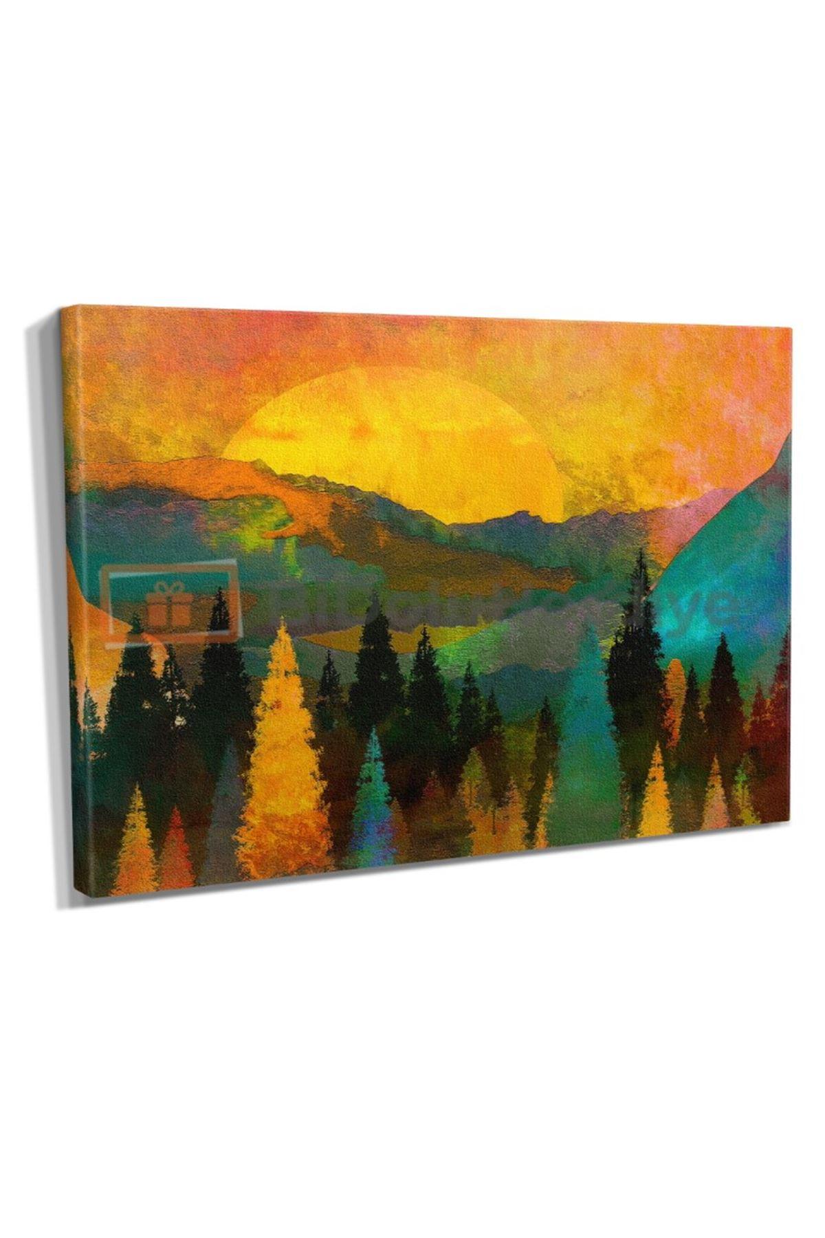 Yağlı Boya Görünümlü Sonbahar Kanvas Tablo