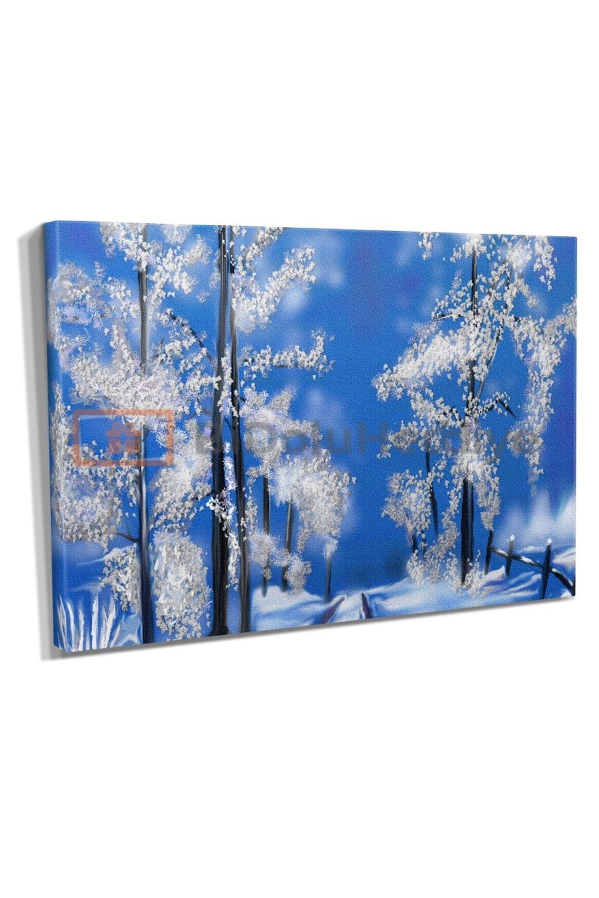 Yağlı Boya Görünümlü Kış Kanvas Tablo