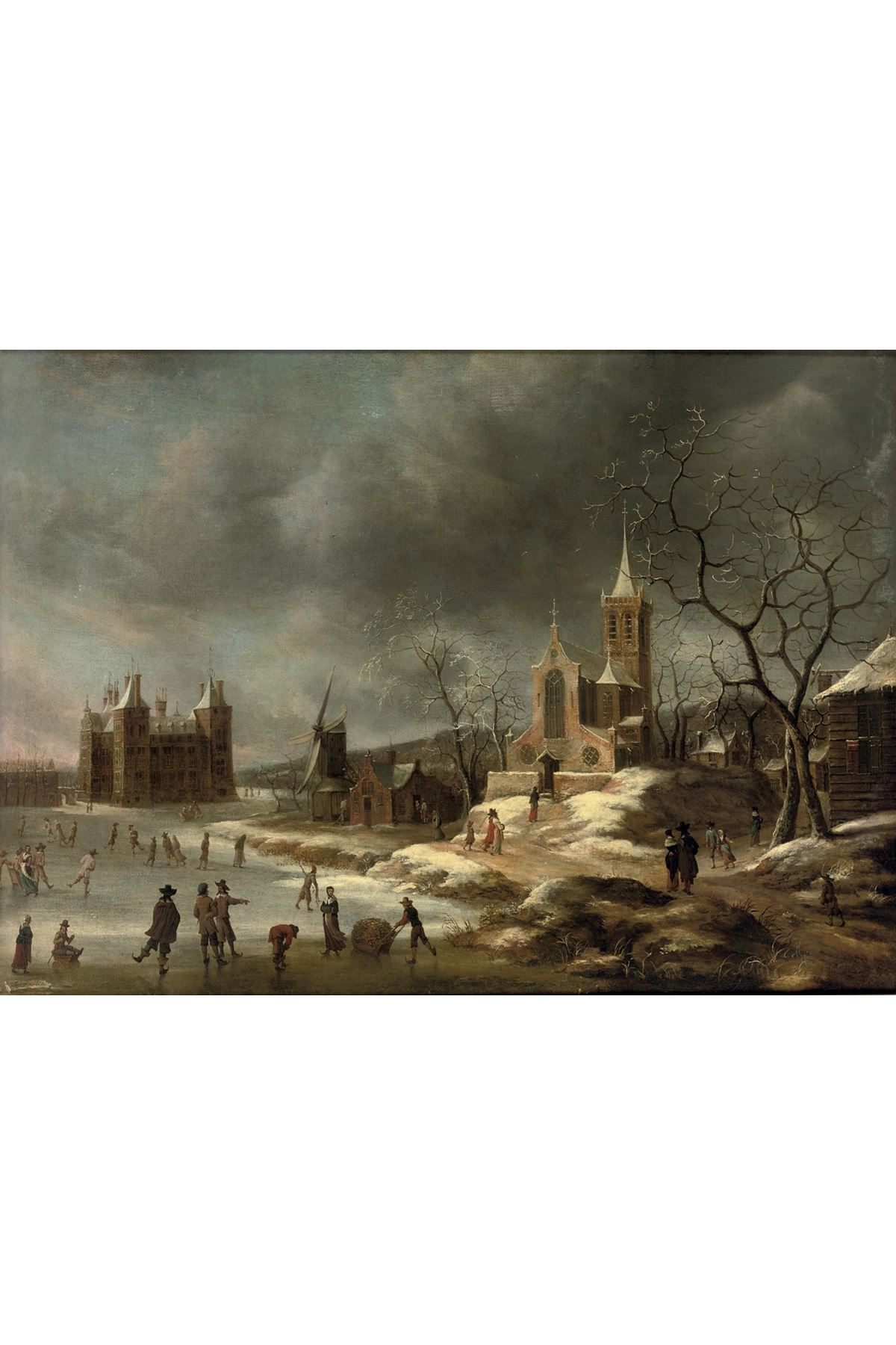 Yağlı Boya Görünümlü Jan Beerstraten Kışın Muedien Kalesi
