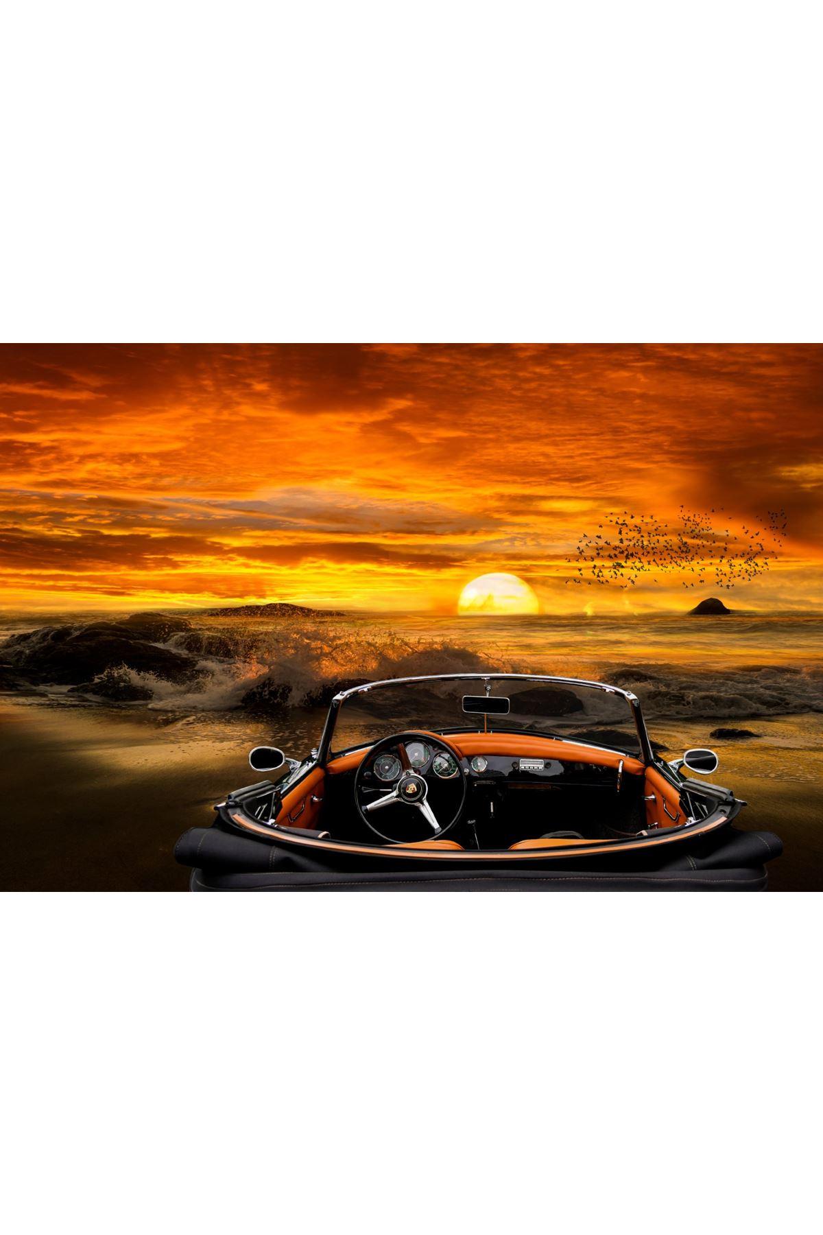 Araba ve Deniz Manzarası Kanvas Tablo