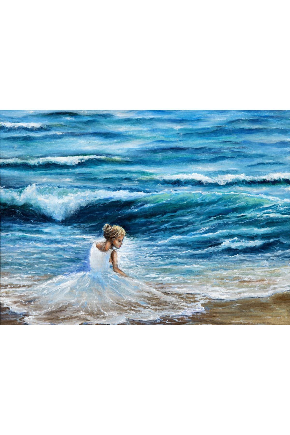 Yağlı Boya Görünümlü Deniz ve Deniz Kızı Kanvas Tablo