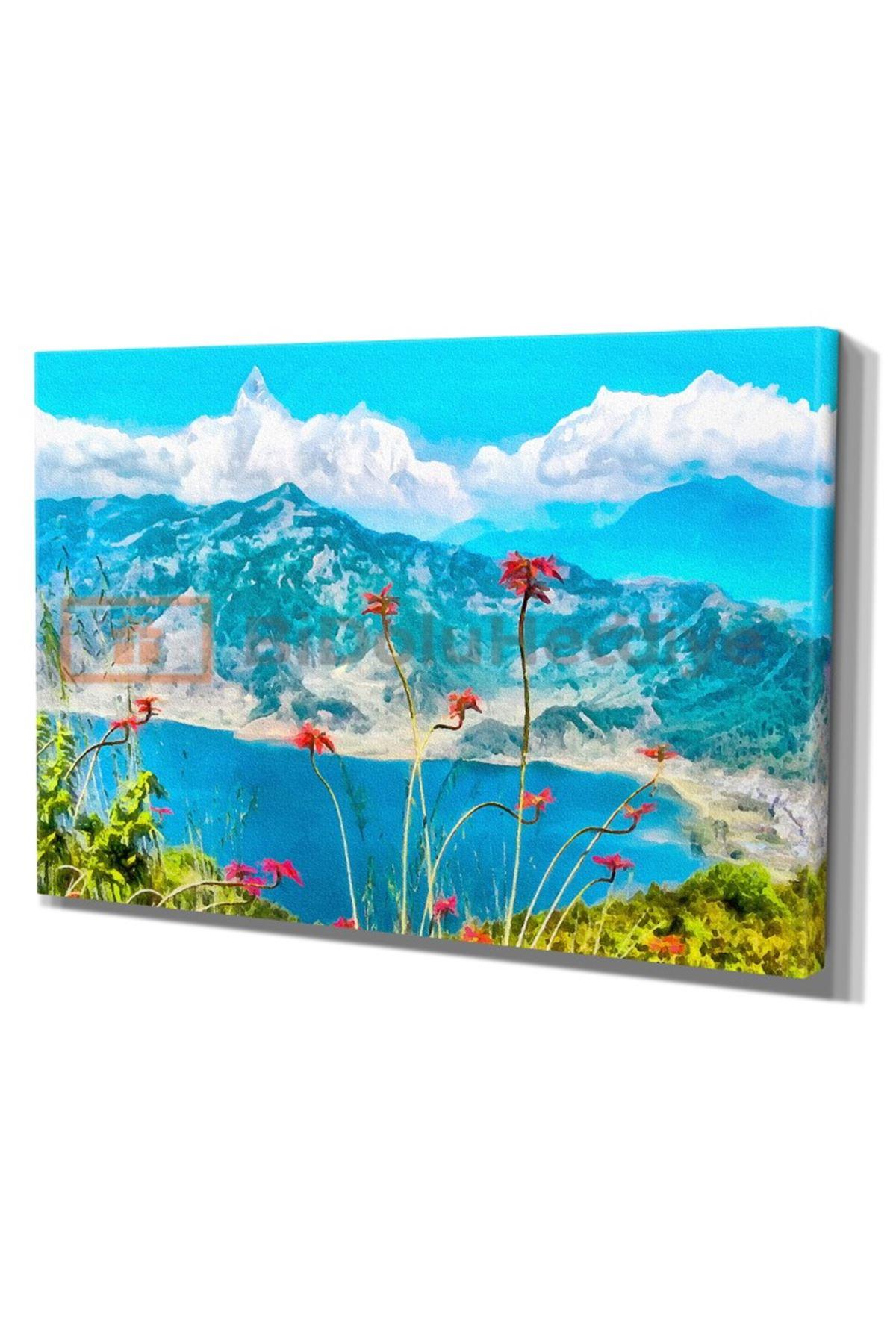 Yağlı Boya Görünümlü Manzara Kanvas Tablo