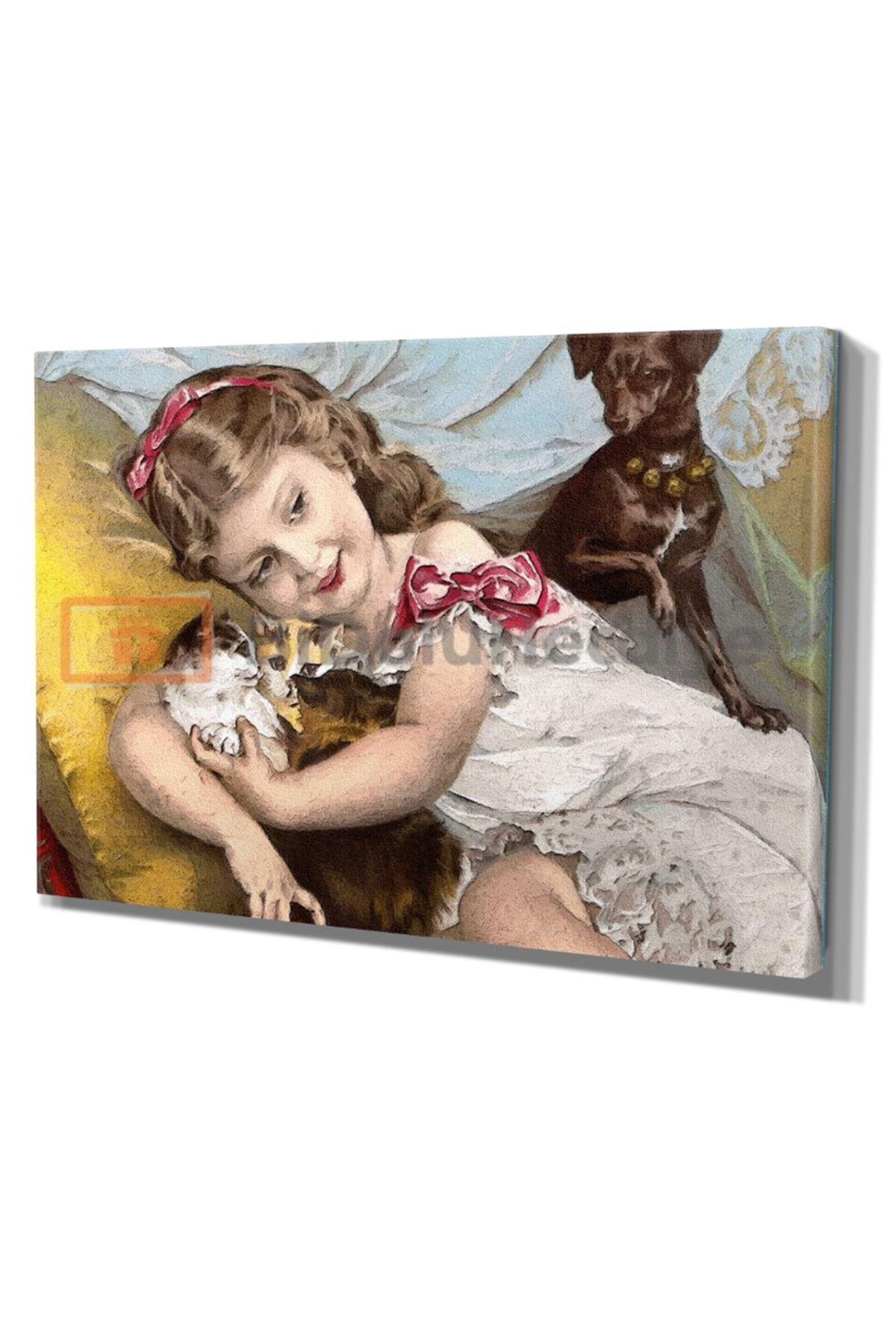 Yağlı Boya Görünümlü Küçük Kız Kediler ve Köpek Kanvas Tablo