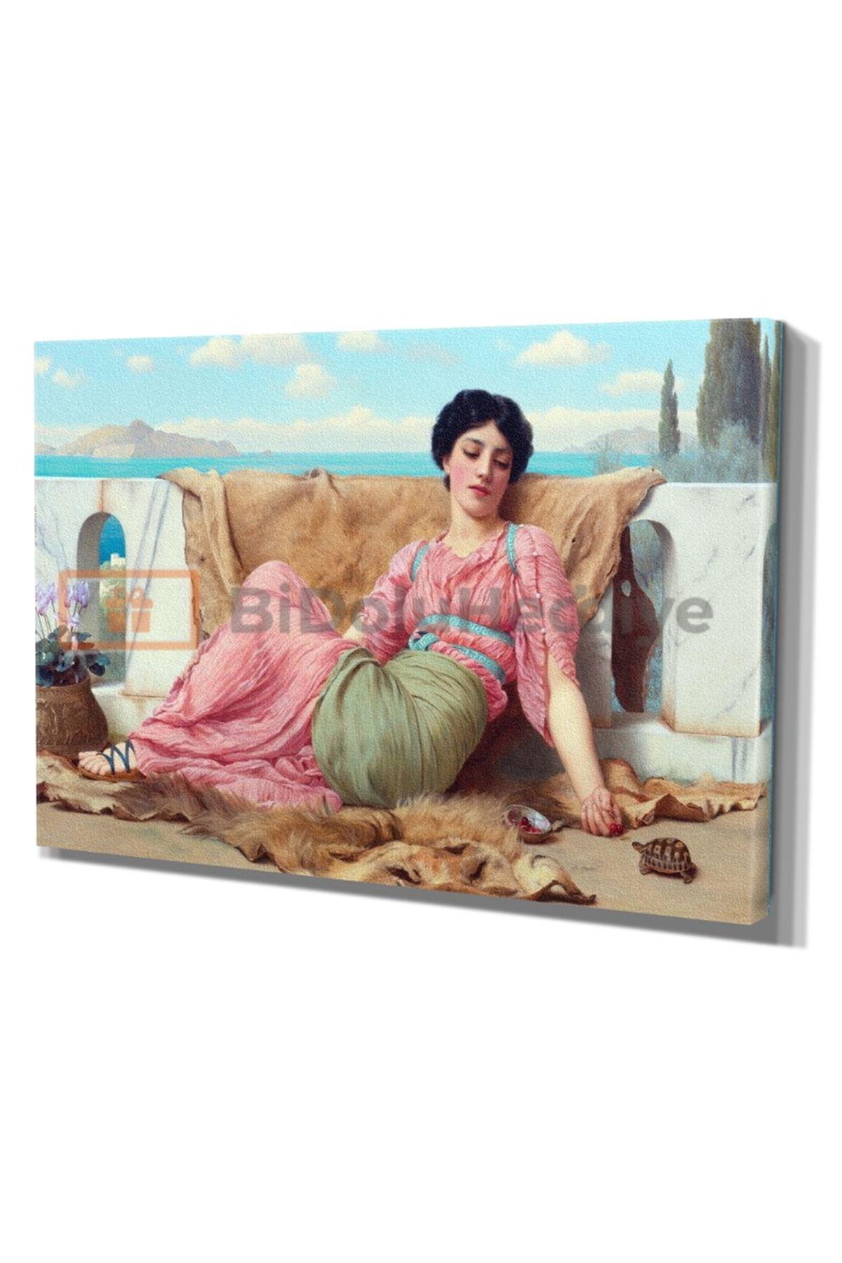 JOSEPH HARRİSON Yağlı Boya Görünümlü Kadın ve Manzara Kanvas Tablo