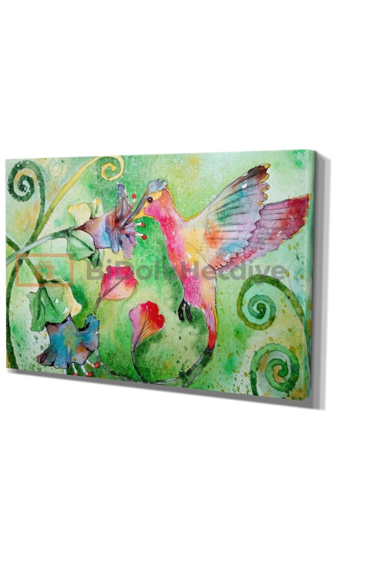 Yağlı Boya Görünümlü Arı Kuşu ve Çiçek Kanvas Tablo