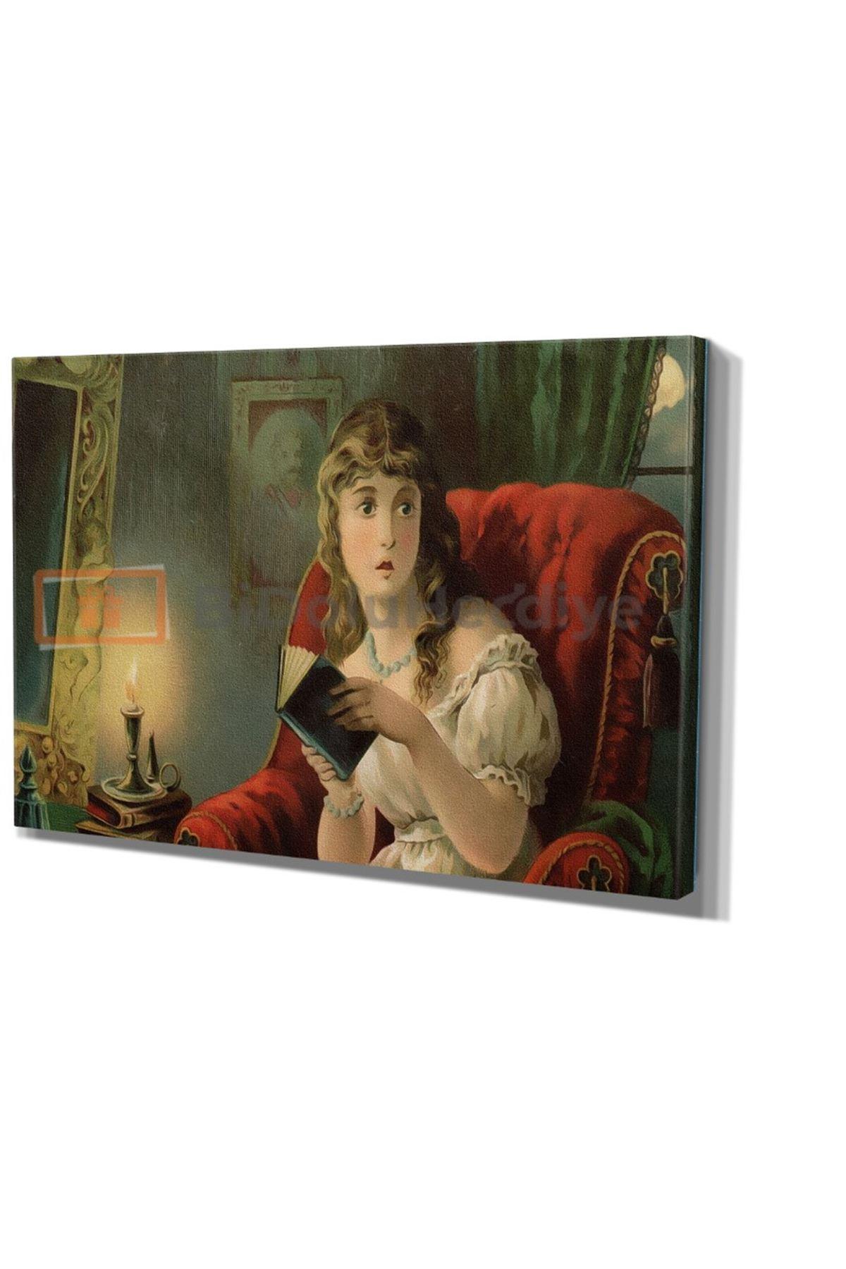 Yağlı Boya Görünümlü Kitap Okuyan Kız Kanvas Tablo