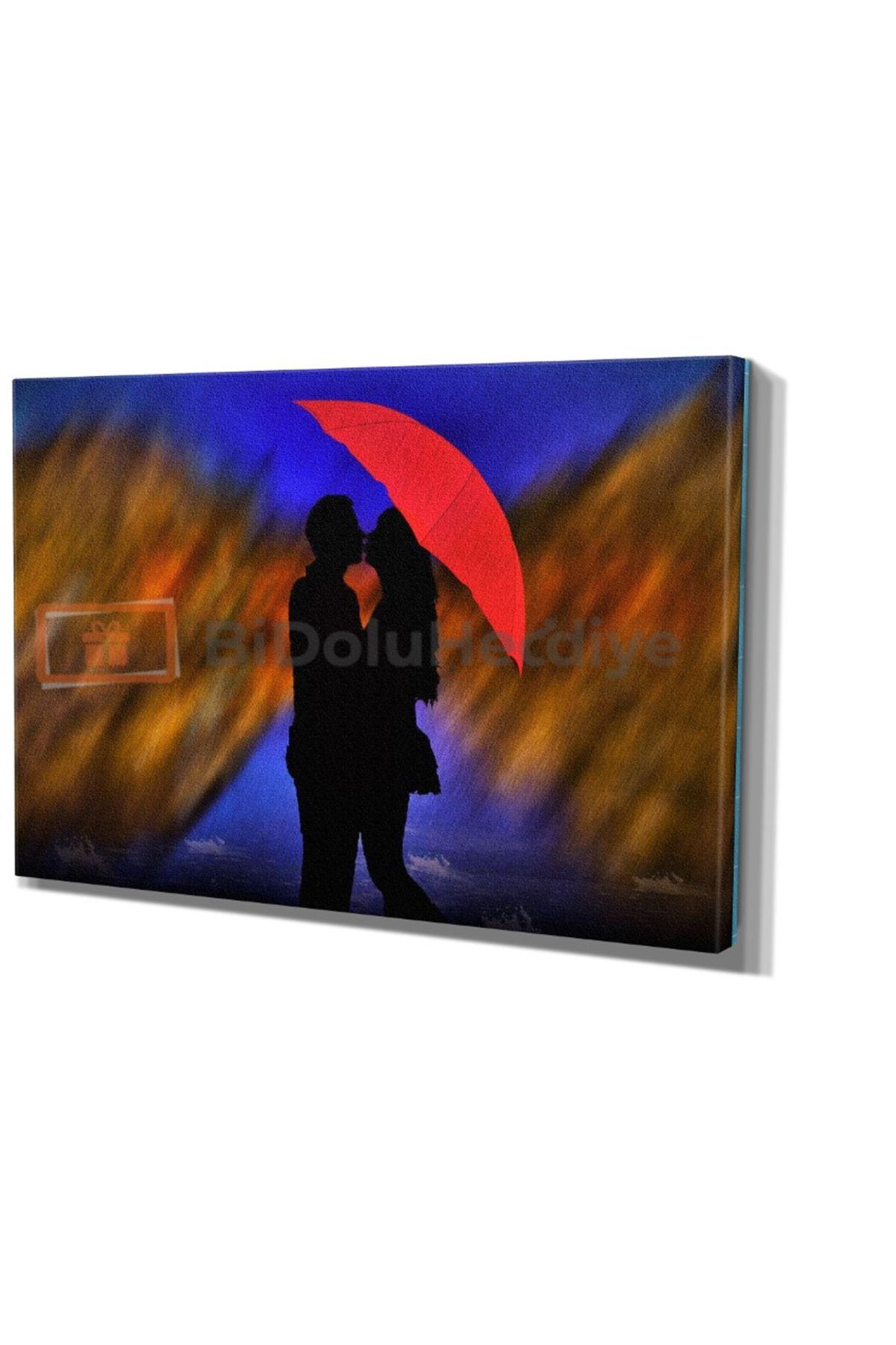 Yağlı Boya Boya Görünümlü Kırmızı Şemsiye Altında Aşk Kanvas Tablo