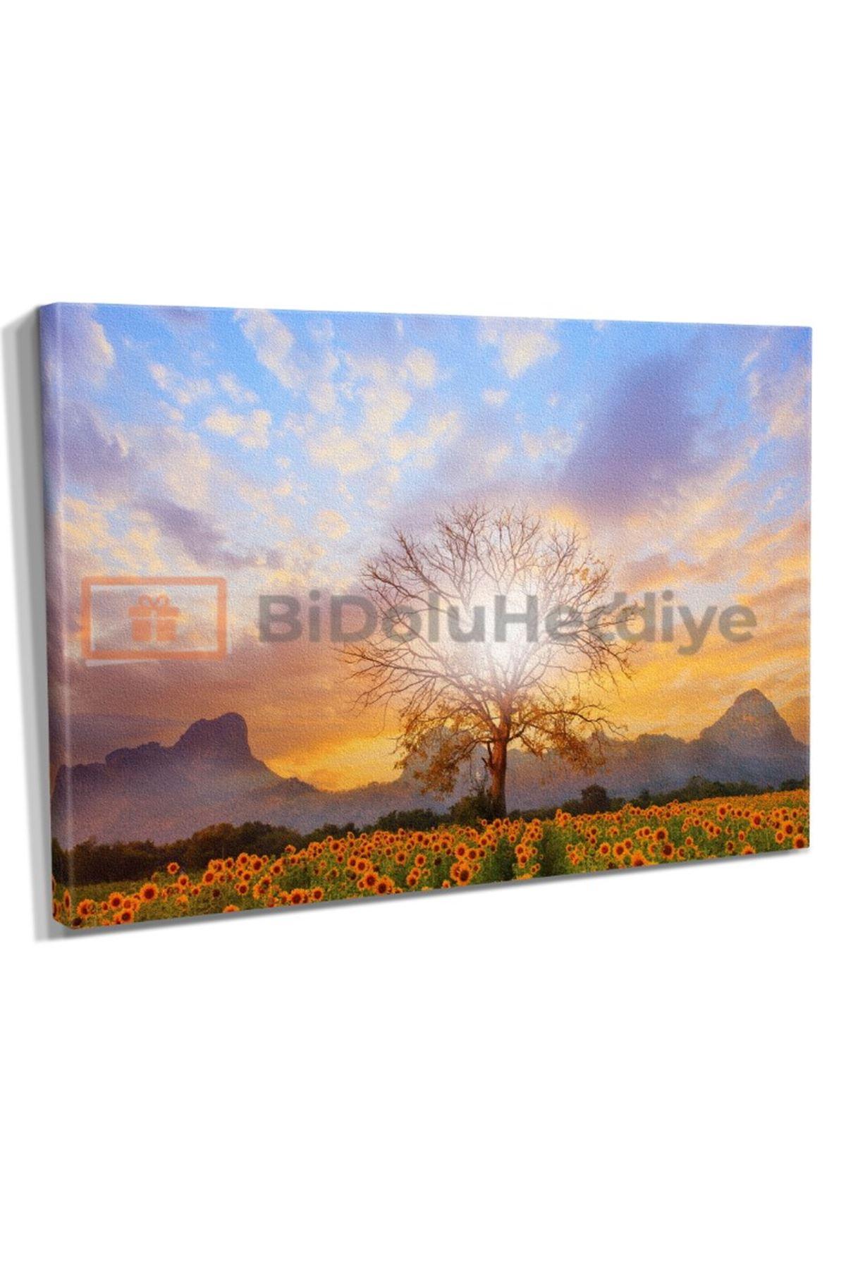 Yağlı Boya Görünümlü Ayçiçeği ve Ağaç , Güneş Kanvas Tablo