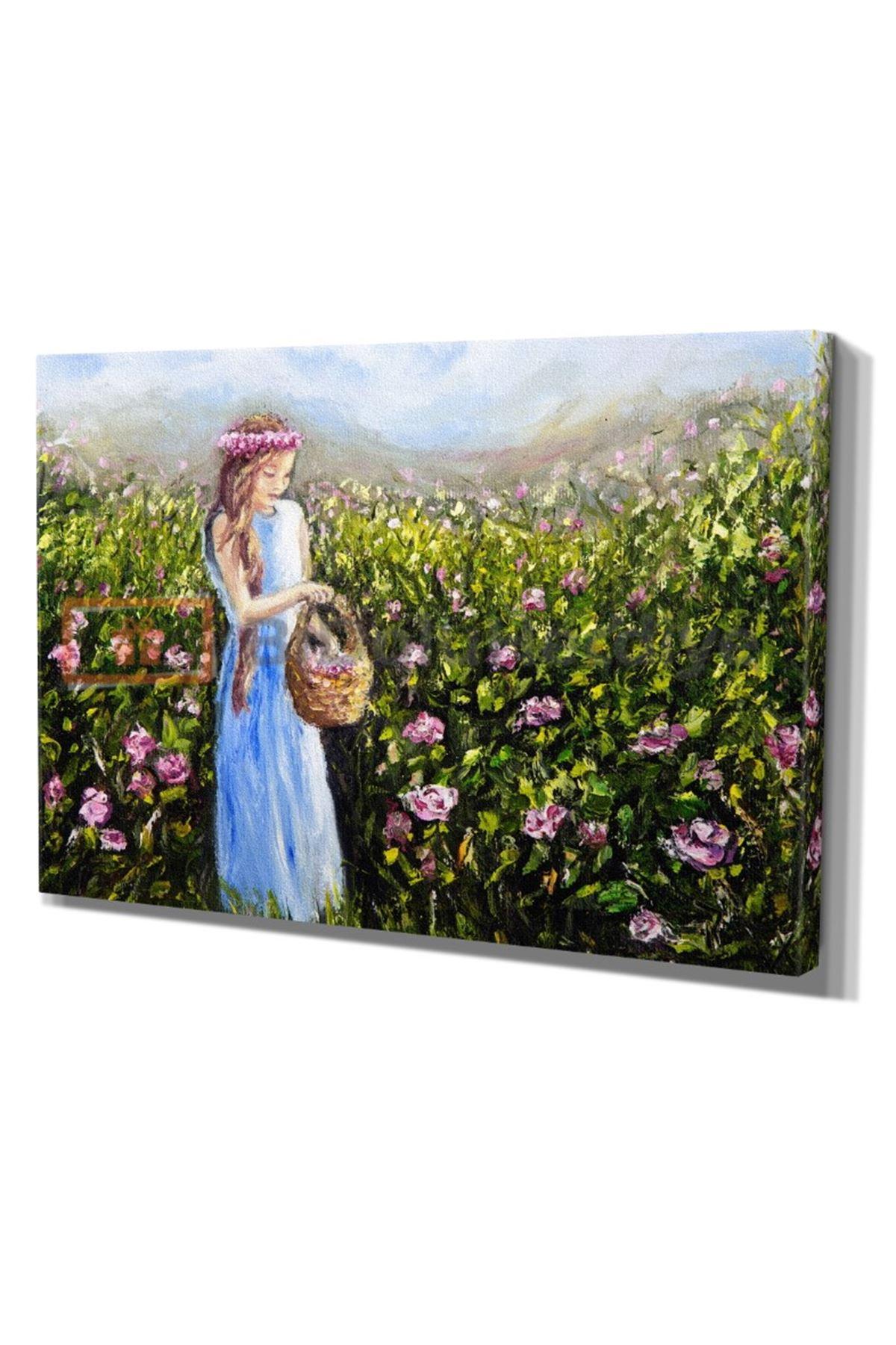 Yağlı Boya Görünümlü Çiçek Toplayan Kız Kanvas Tablo