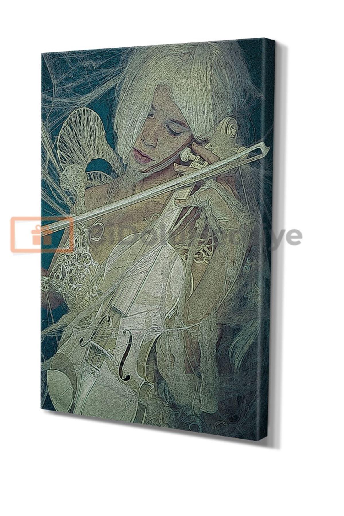 Yağlı Boya Görünümlü Keman Çalan Kız Kanvas Tablo
