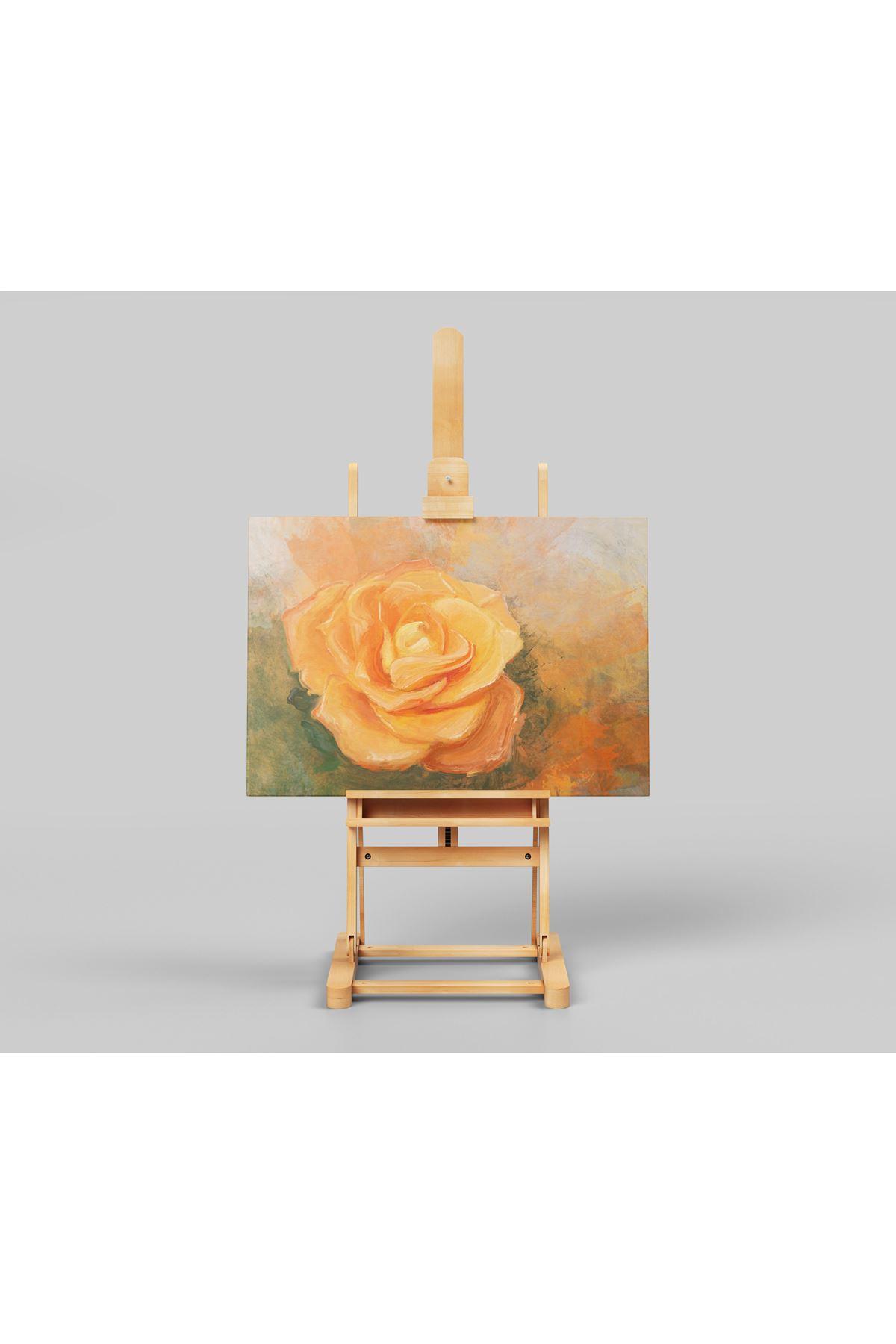 Sulu Boya Görünümlü Gül (Rose) Kanvas Tablo