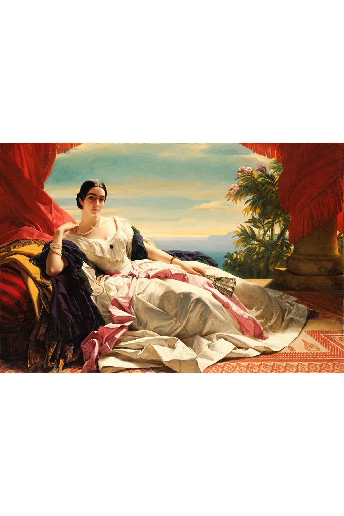 "Xaver Winterhalter, ""Portrait of Leonilla, Princess of Sayn, Wittgenstein Sayn"" [1843] Dijital Baskı Kanvas Tablo"