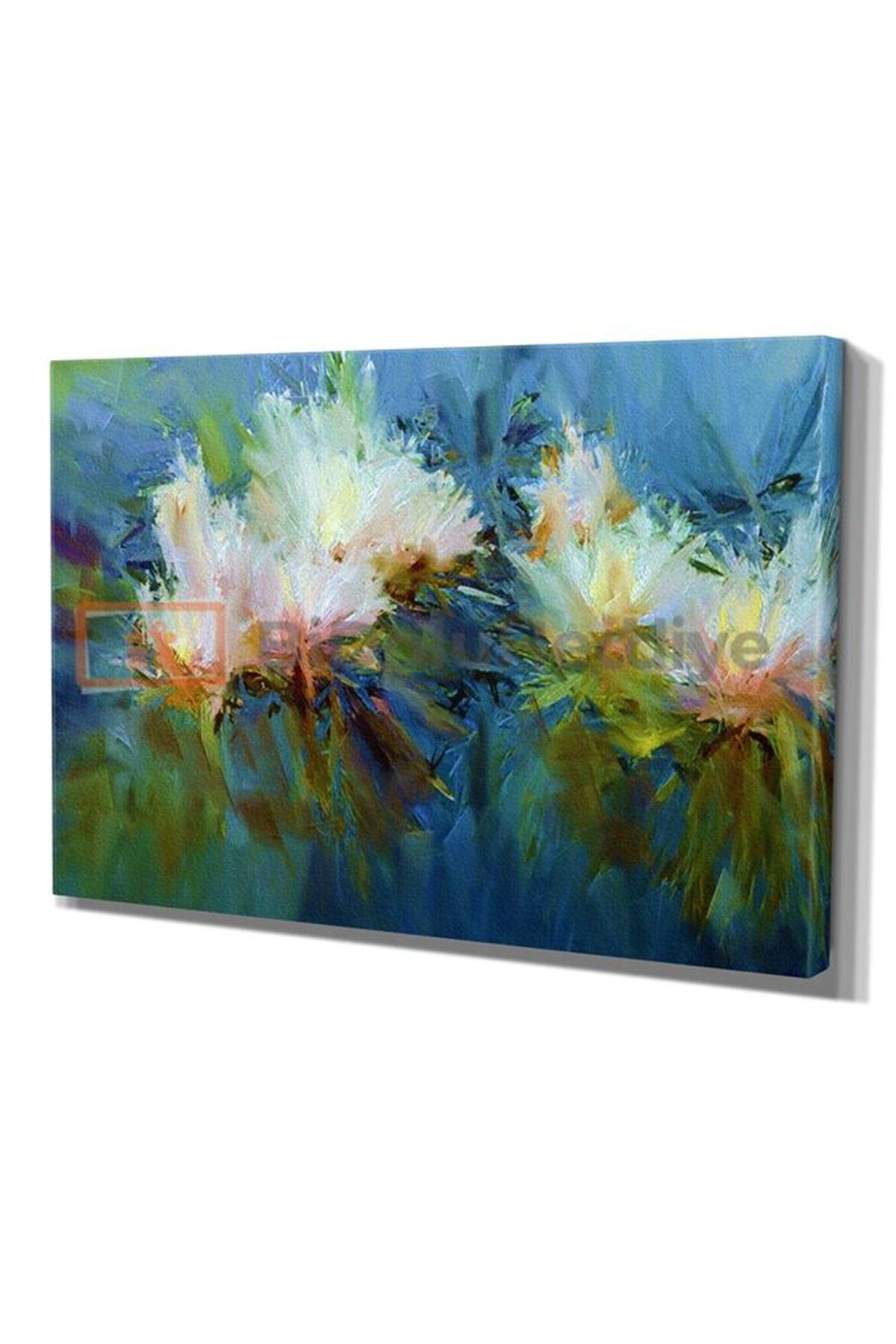 """Soyut Renklerin Karmaşasında Nilüfer Çiçeği, """"Abstract Water Lillies"""" Dijital Baskı Kanvas Tablo"""