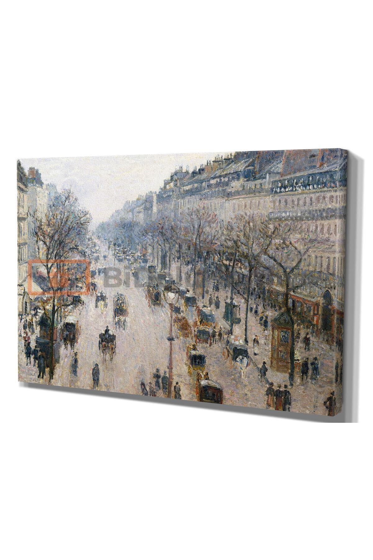 """Yağlı Boya Görünümlü, Camille Pissarro'nun eseri;  """"The Boulevard Montmartre on a Winter Morning"""",1897"""