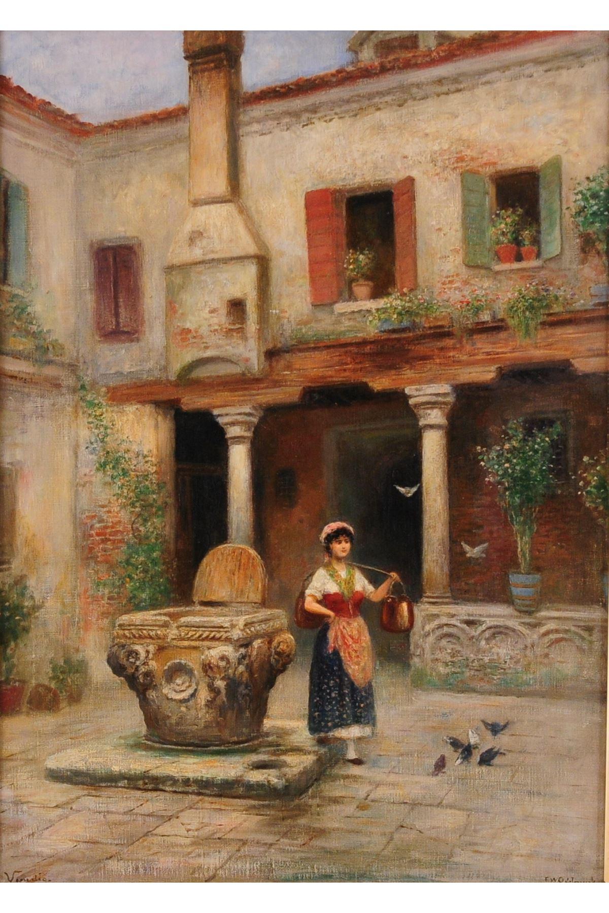 """Yağlı Boya Görünümlü Frans Wilhelm Odelmark Eseri (1849-1937) """"Köylü Kızı"""""""
