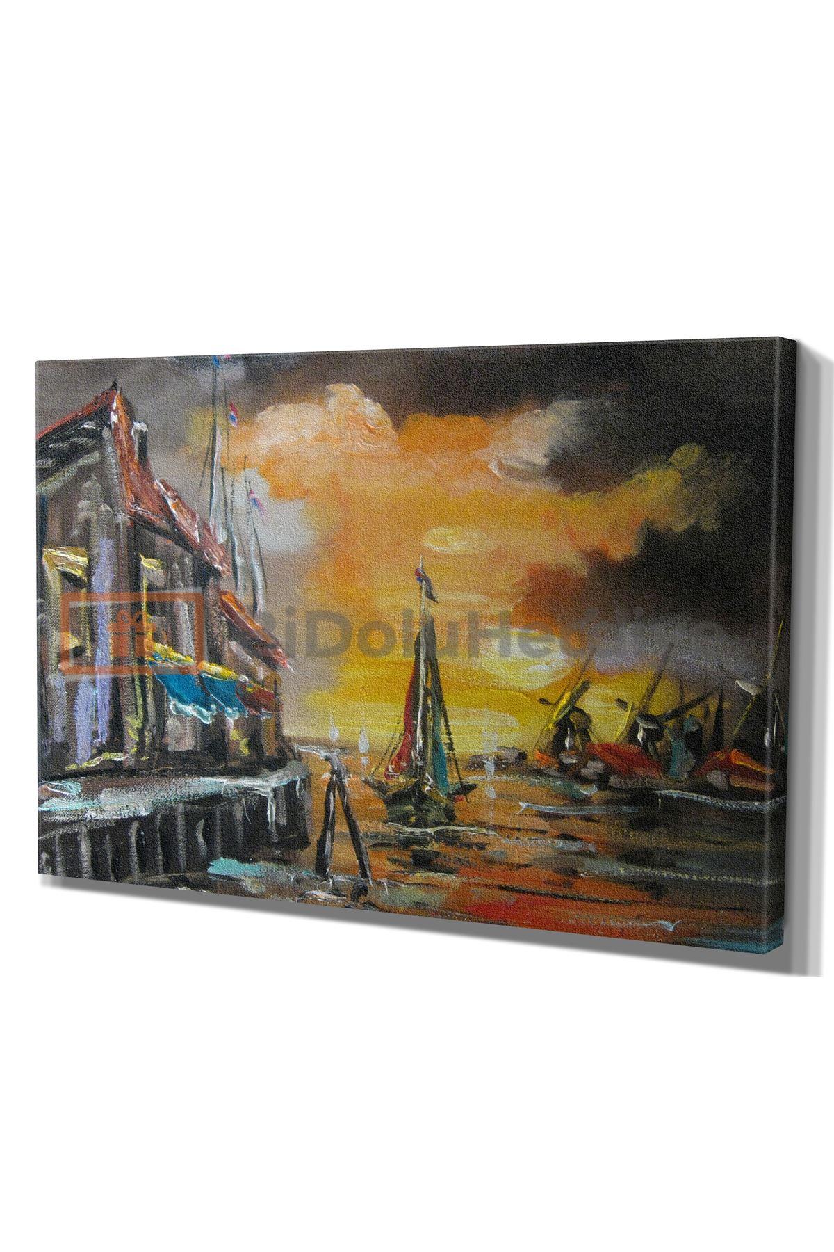 Yağlı Boya Görünümlü Gün Batımında Liman ve Tekneler Soyut Kanvas Tablo