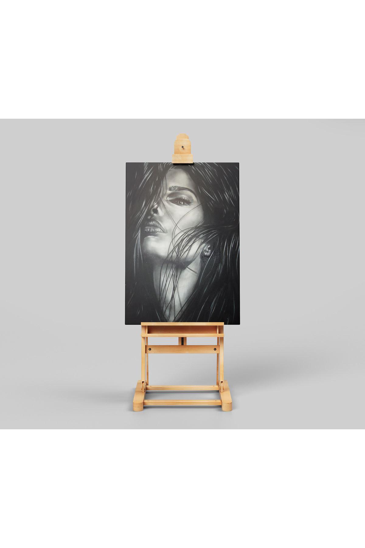 Yağlı Boya Görünümlü Siyah Beyaz Kadın Kanvas Tablo
