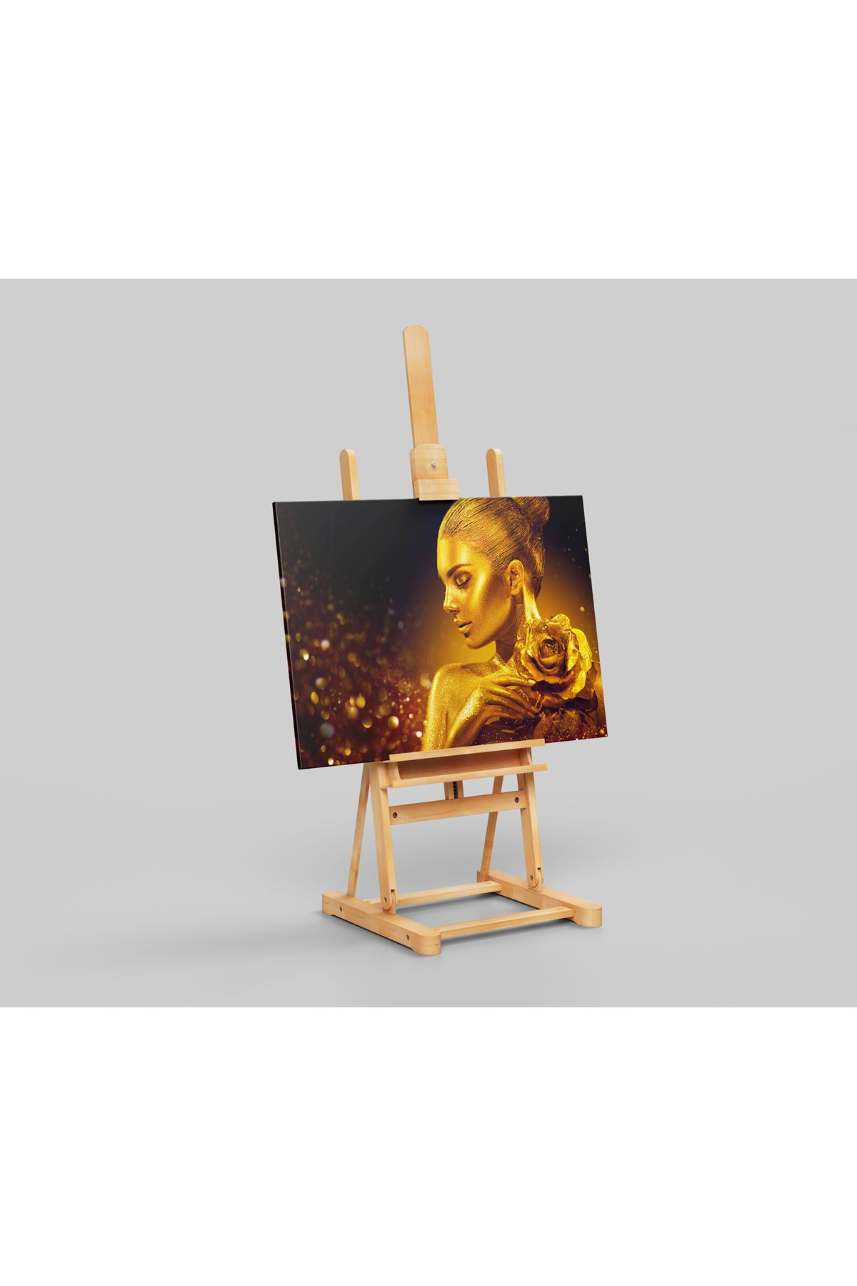 Fashion Mode,  Golden Skin Woman With Rose Kanvas Tablo