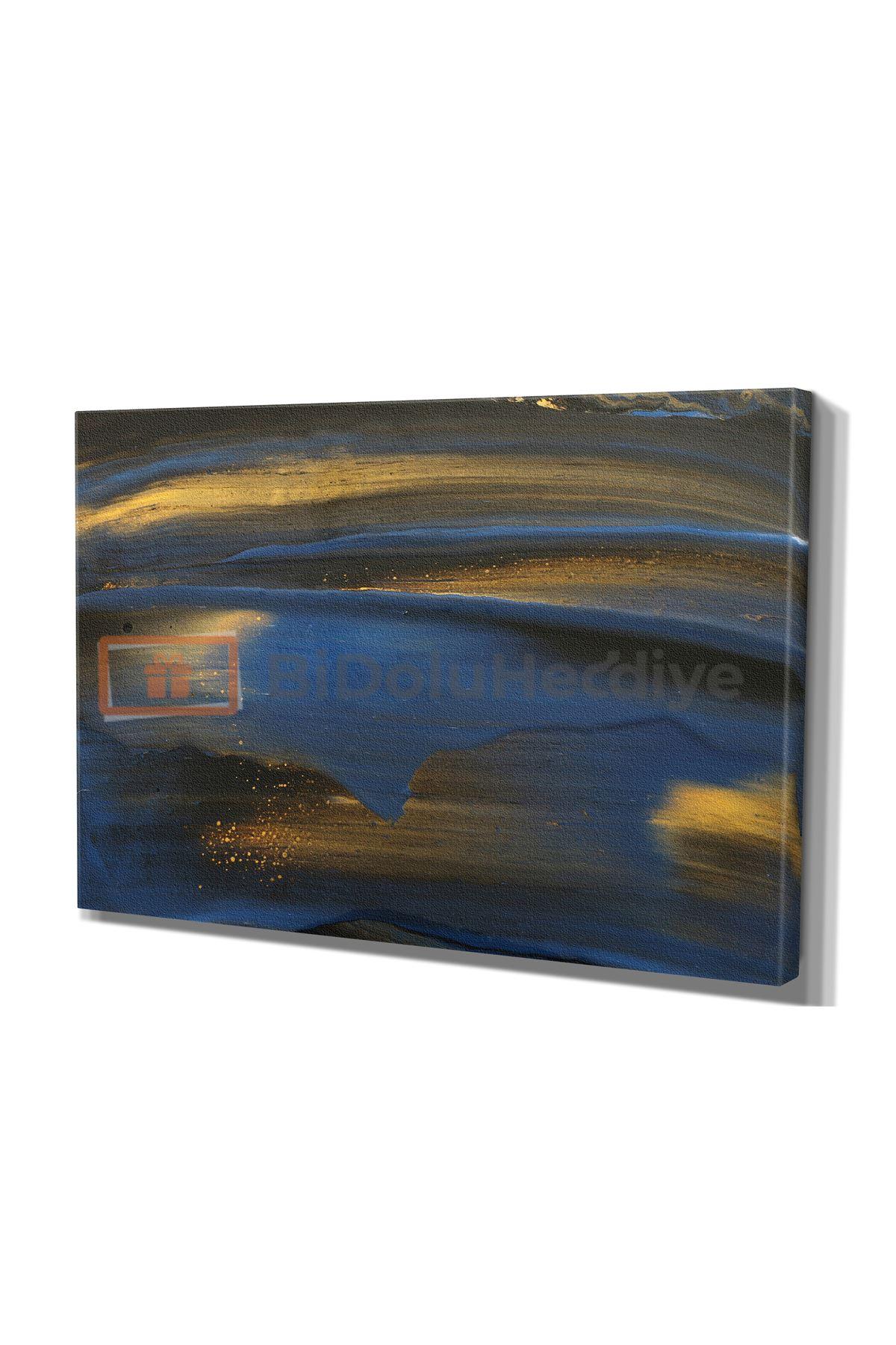 Yağlı Boya Görünümlü Siyah ve Lacivert Zemin Üzerine Gold Fırça Darbeleri Soyut Kanvas Tablo