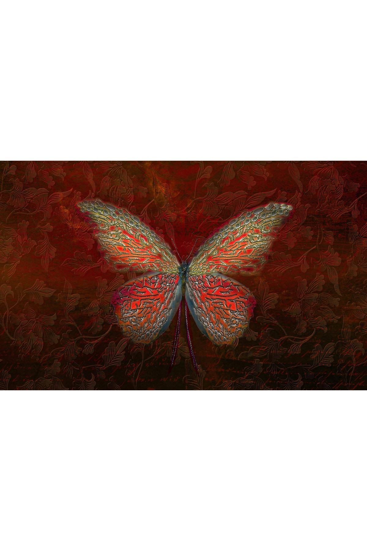 Soyut Kelebek Kırmızı Kanvas Tablo