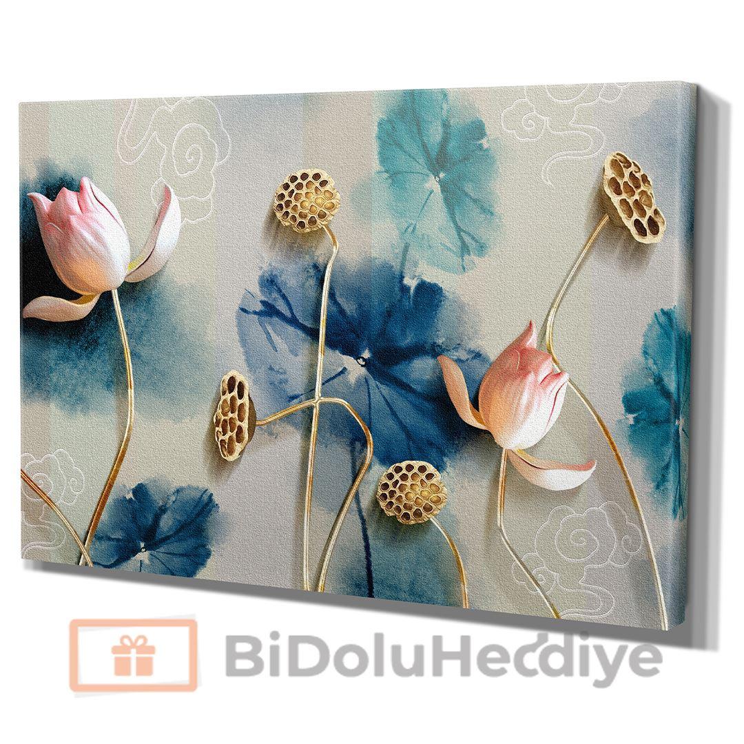 3D (KABARTMA) Görünümlü Modern Soft Çiçek Kanvas Tablo