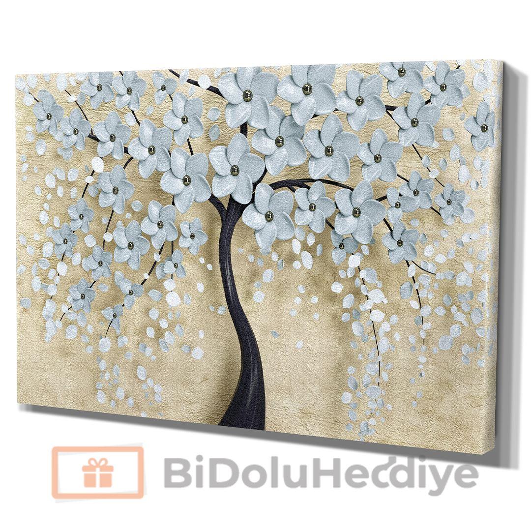 3D (KABARTMA) Görünümlü Gri Yapraklı İnci Ağaç Kanvas Tablo