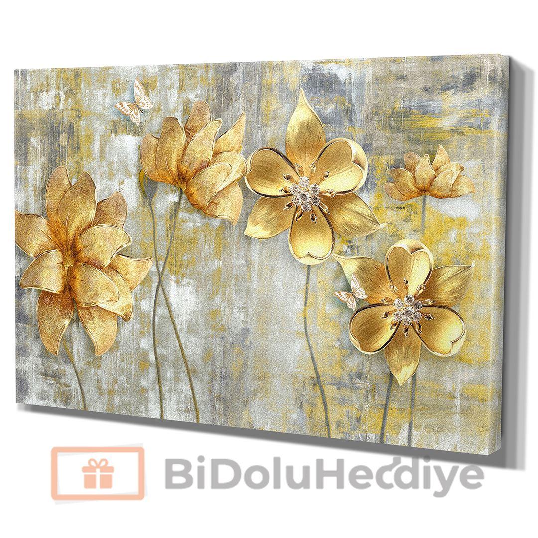 3D (KABARTMA) Görünümlü Altın Yapraklı Çiçek Kanvas Tablo