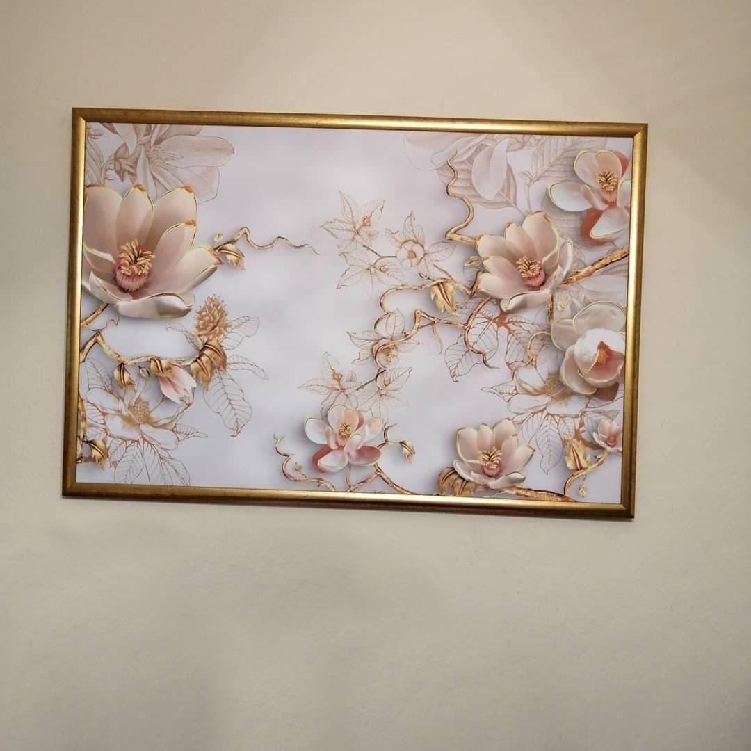 3D (KABARTMA) Görünümlü Krem Gold Çiçek Kanvas Tablo