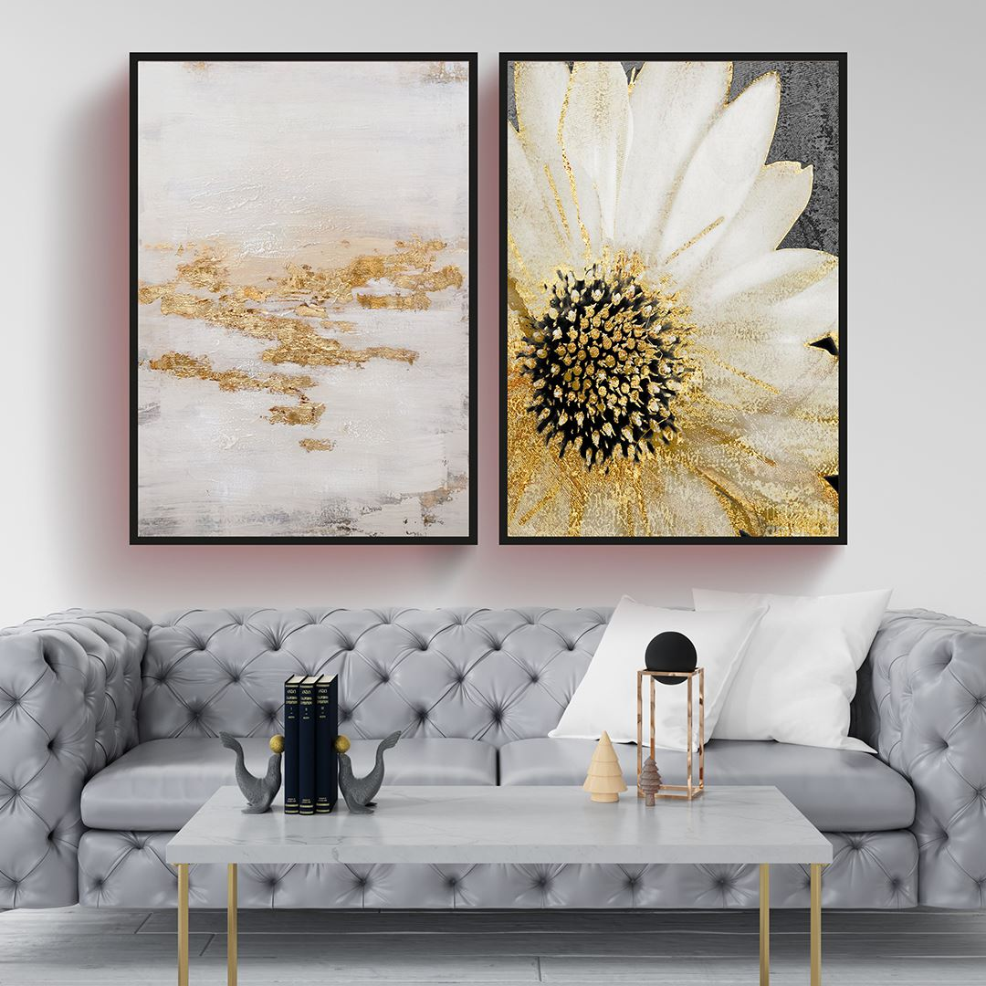 Soyut & Çiçek 2 Parça Set Kanvas Tablo