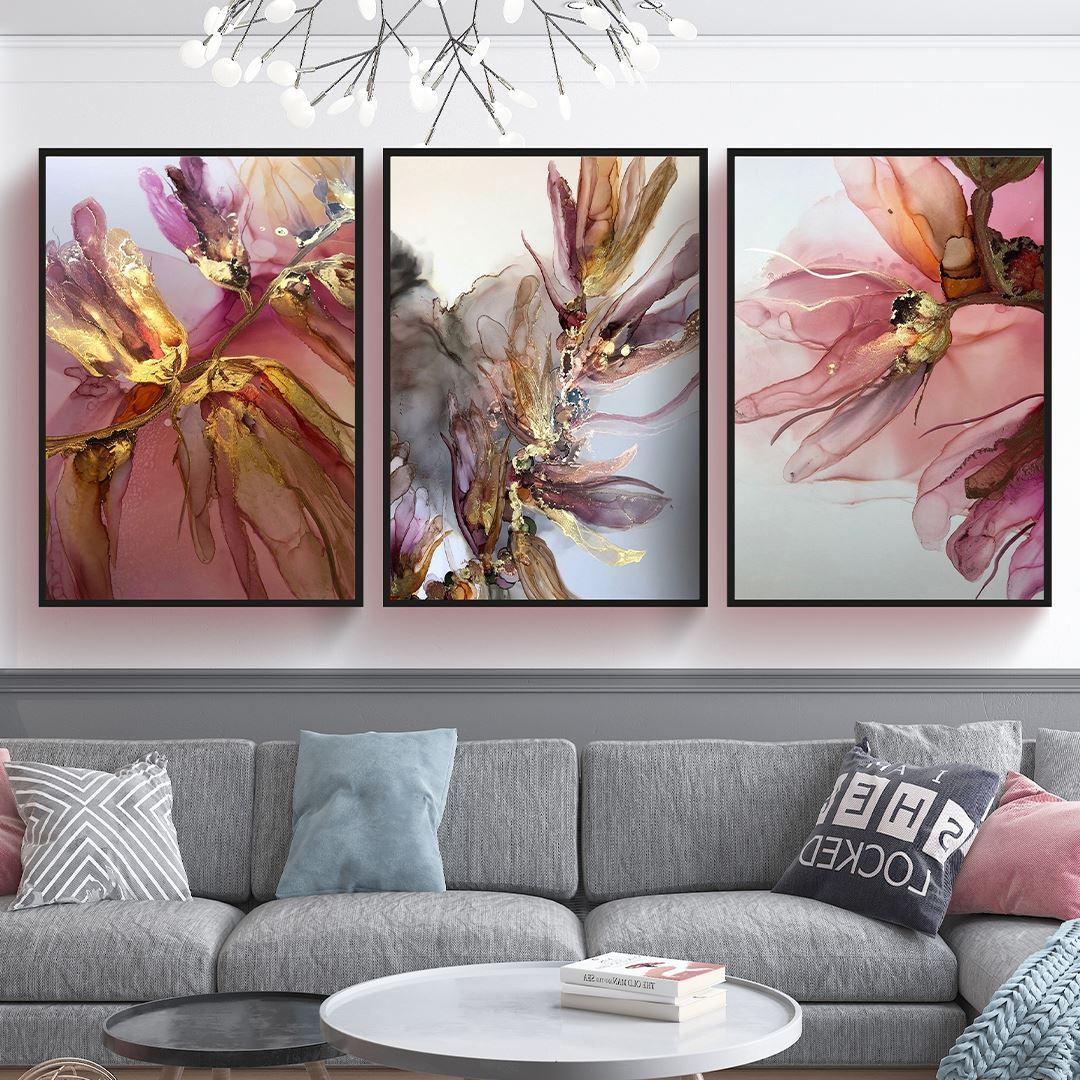 Soyut Çiçekler 3 Parça Set Kanvas Tablo