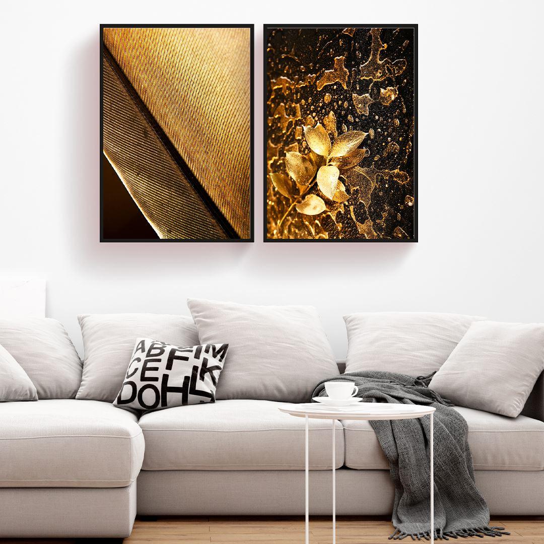 Gold Tüt & Yaprak  2 Parça Set Kanvas Tablo