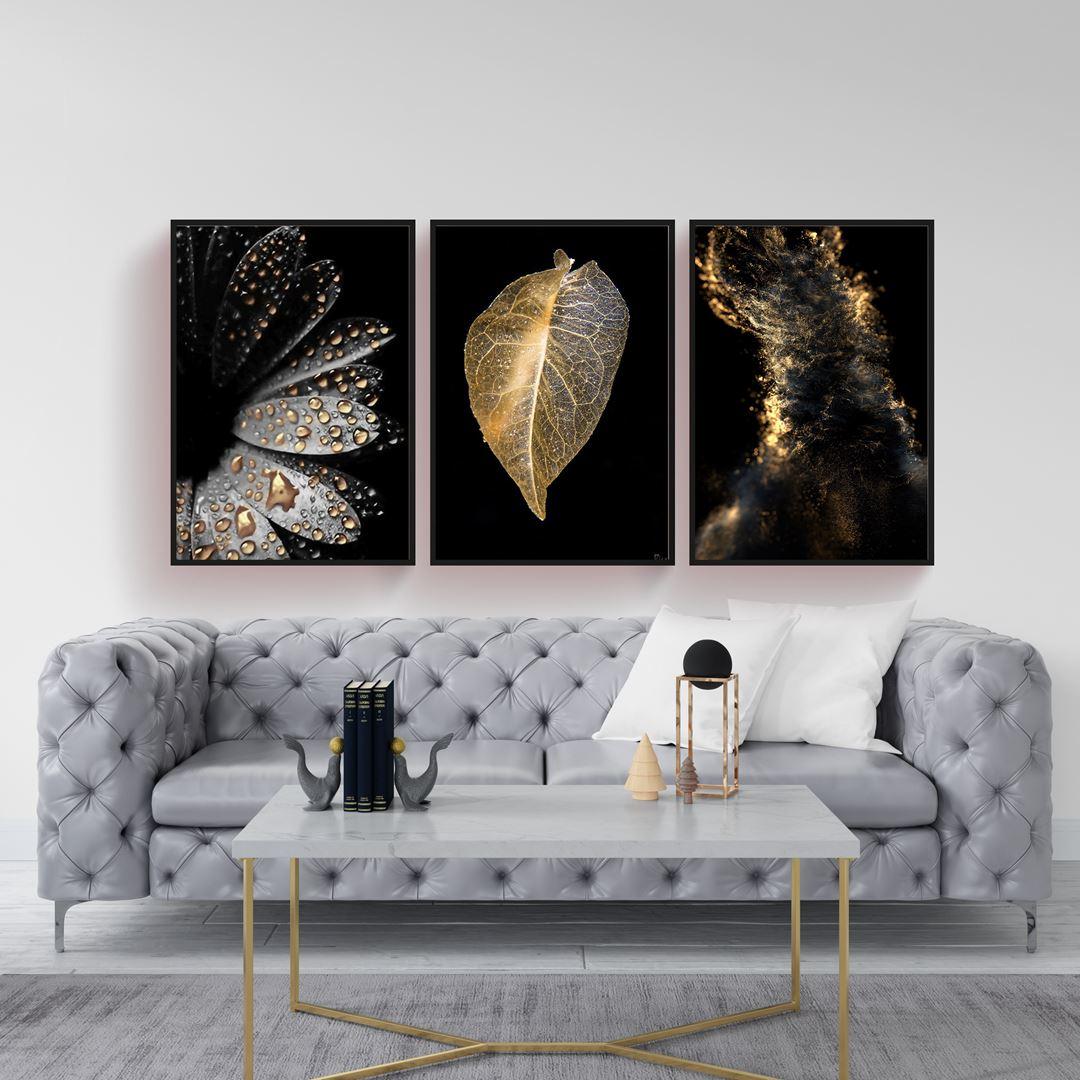 Modern Siyah & Gold 3 Parça Set Kanvas Tablo