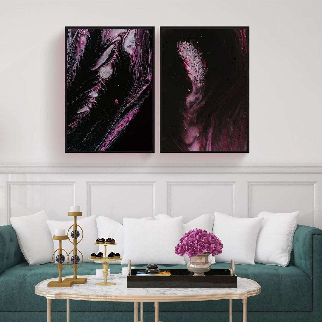 Soyut Purple 2 Parça Set Kanvas Tablo