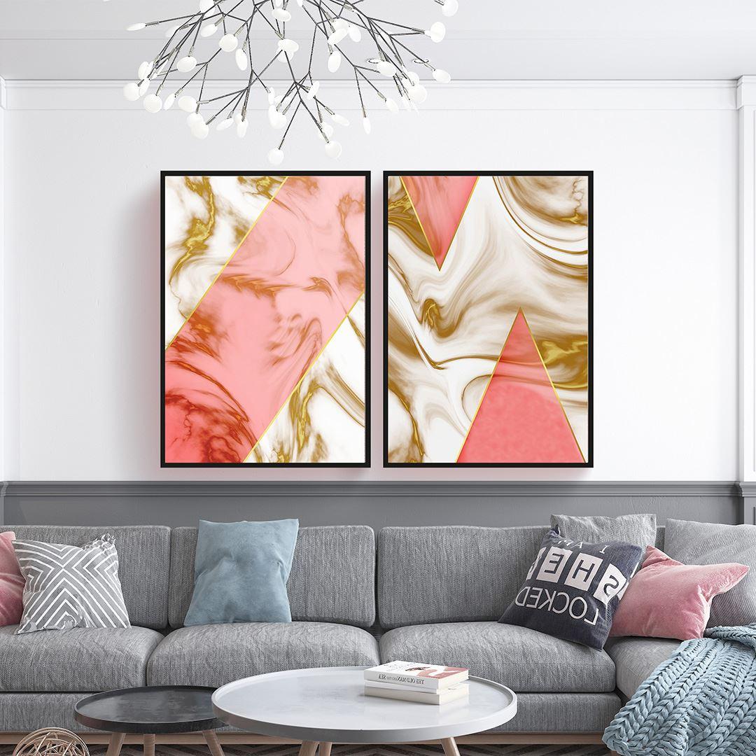 Pink Marble 2 Parça Set Kanvas Tablo