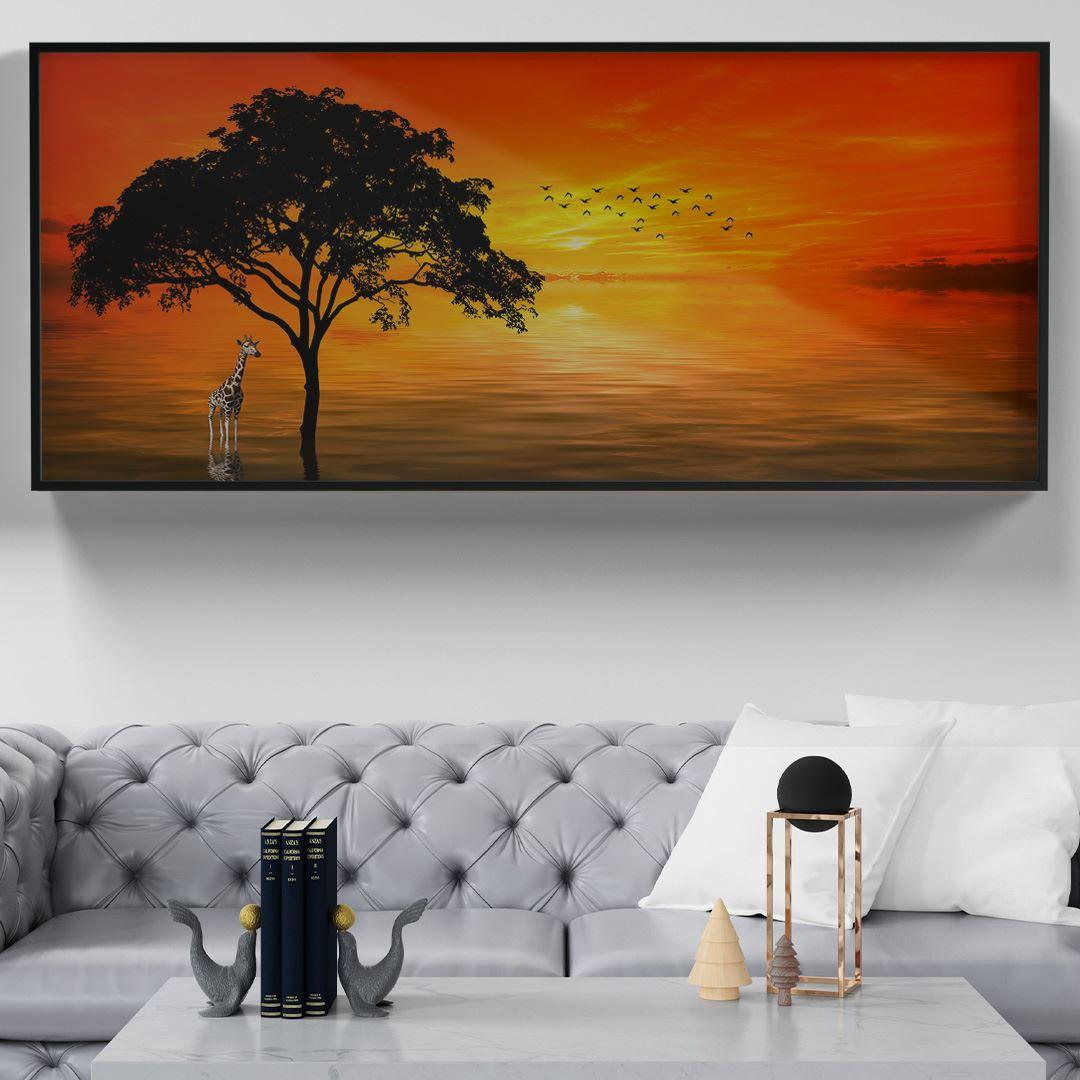 Savannah Günbatımı Zürafa Kanvas Tablo