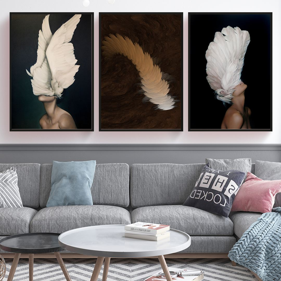 Feather Womens 3 Parça Set Kanvas Tablo