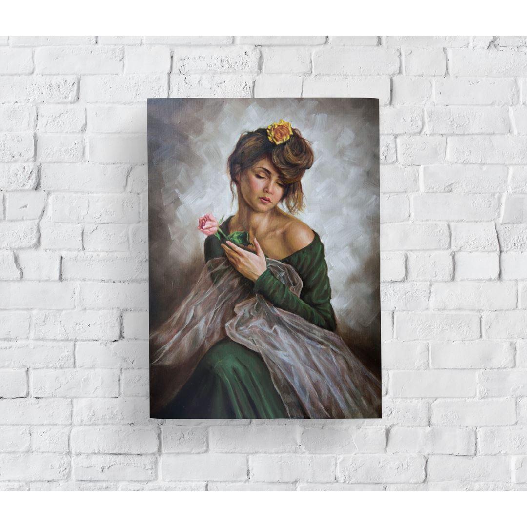Çiçekli ve Yeşil Elbiseli Kadın Yağlı Boya Görünümlü Kanvas Tablo