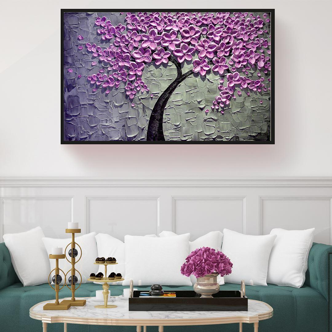Kabartma Görünümlü Lila Çiçekli Ağaç Kanvas Tablo
