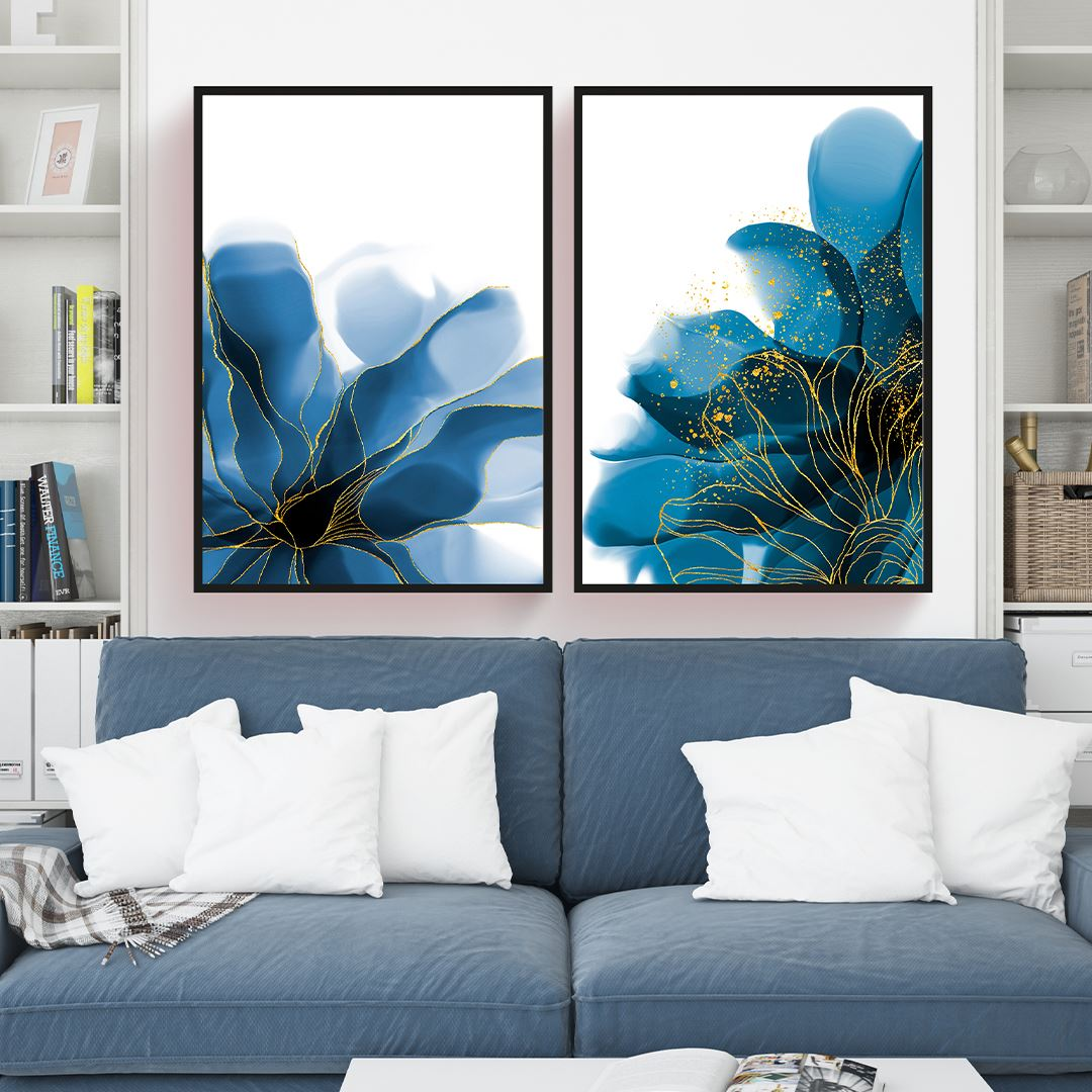Blue Gold Abstract Canvas Set