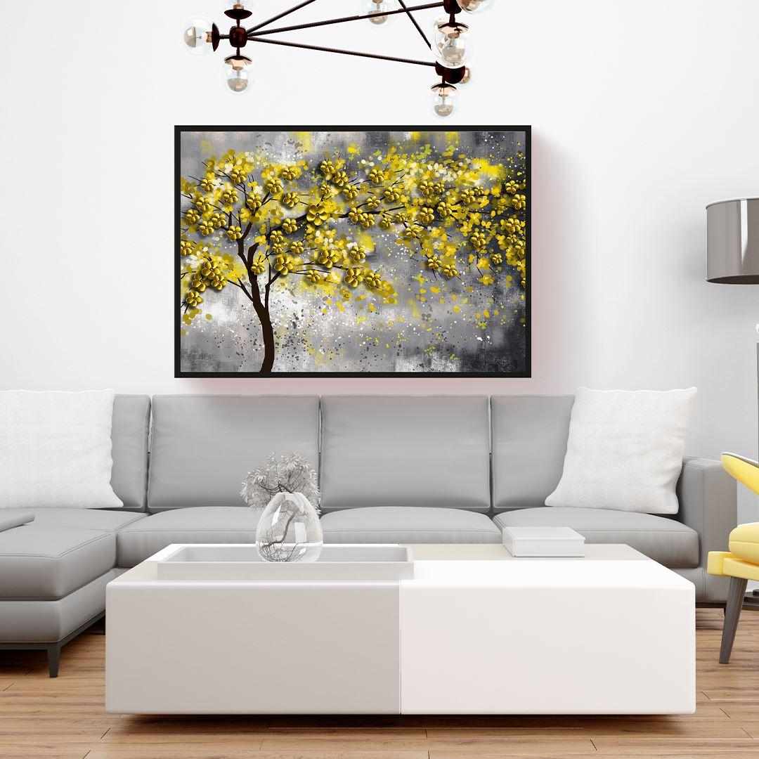 Sarı Çiçekli Ağaç Kanvas Tablo