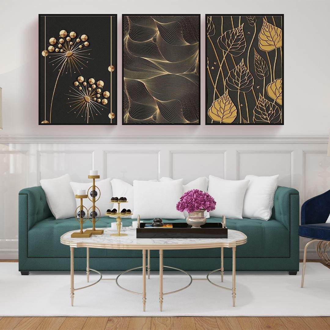 Black and Gold Modern Canvas Set