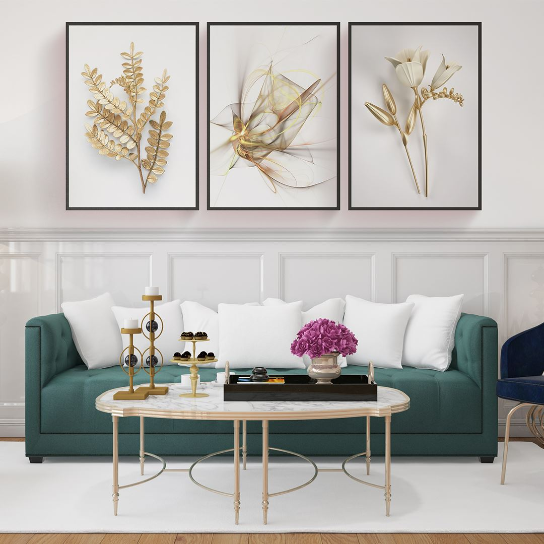 Gold and White Modern Canvas Set