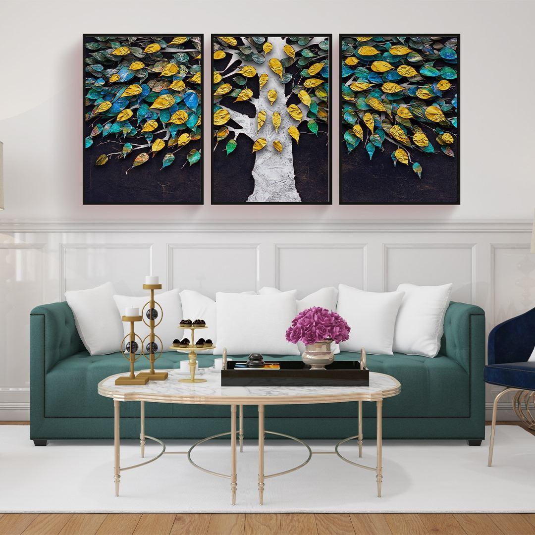 Modern Ağaç ve Yapraklar Kanvas Set