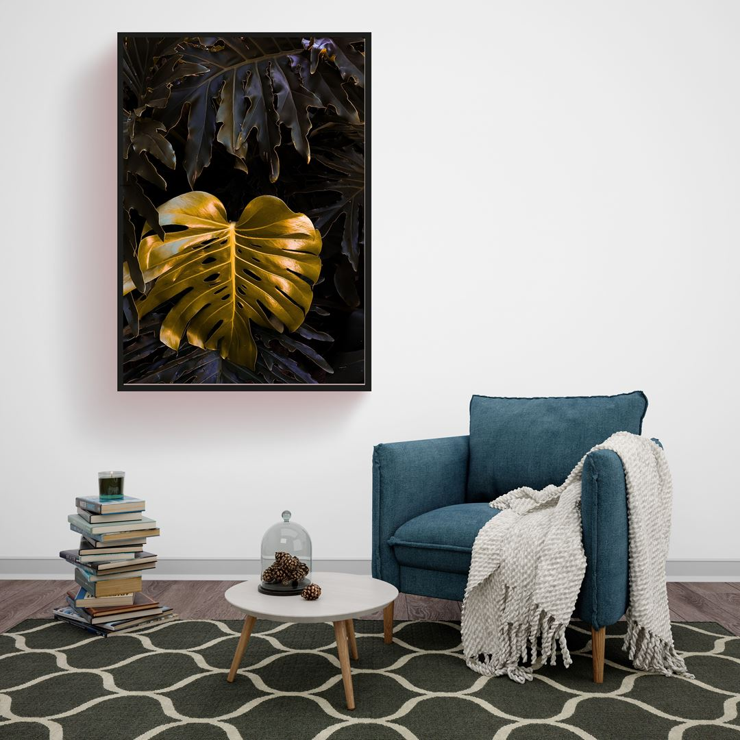 Modern Gold Yaprak Kanvas Tablo