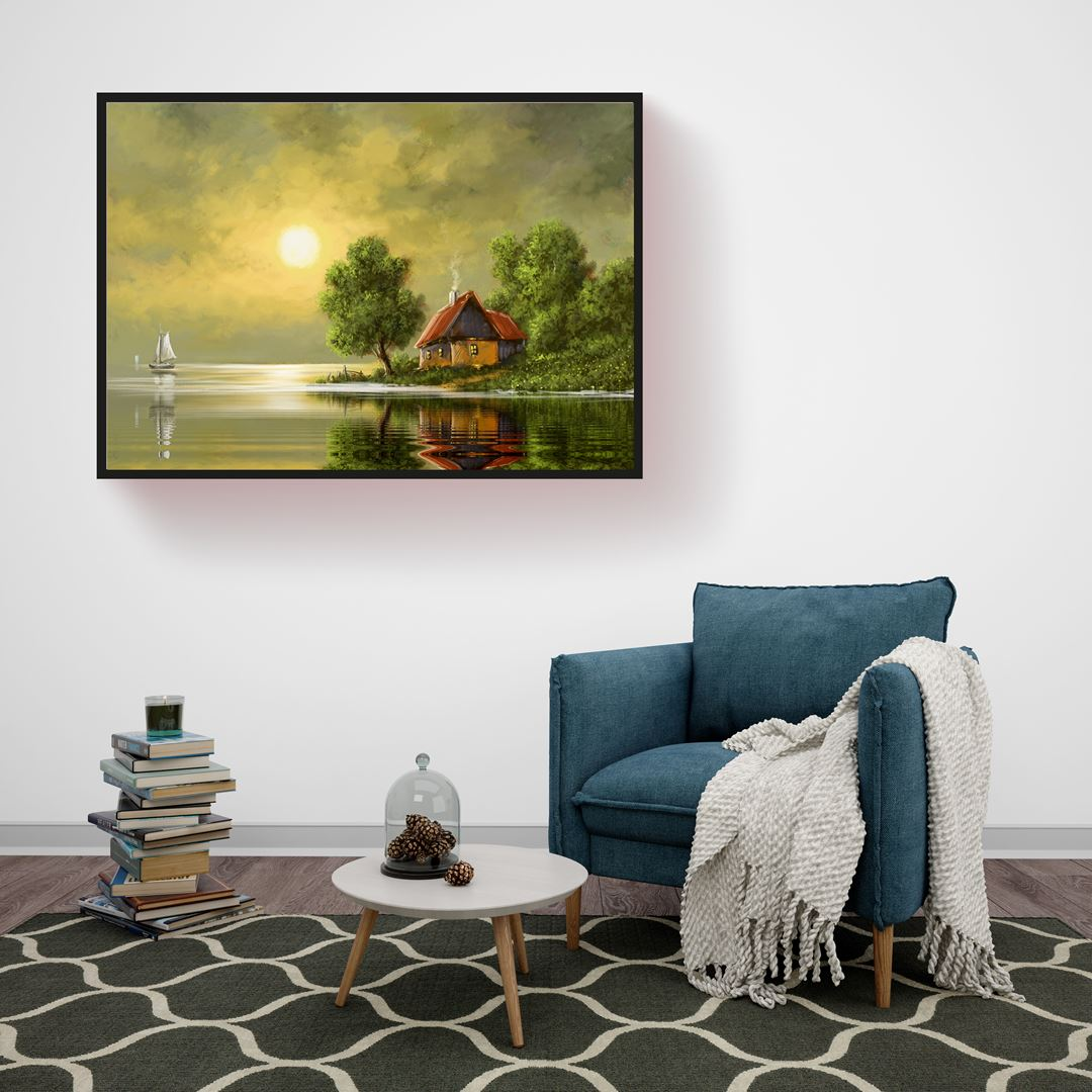 Deniz Kıyısındaki Ev Kanvas Tablo (Yağlı boya görünümlü)