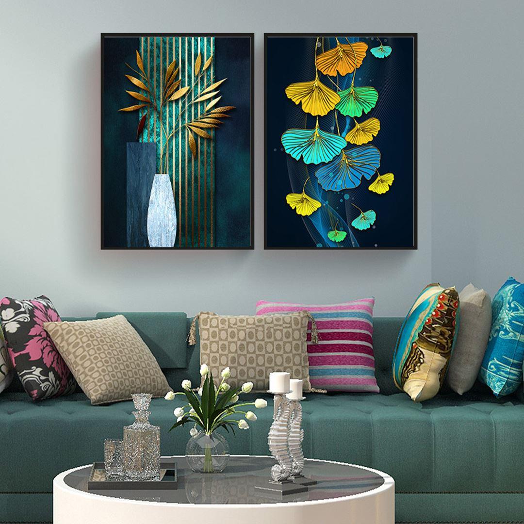 Modern Yapraklar Kanvas Set
