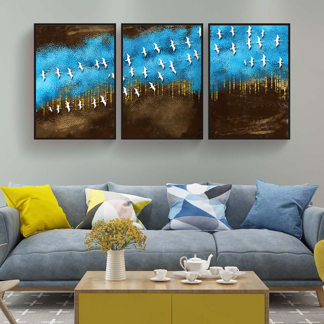 Modern Soyut Kuşlar Canvas Set