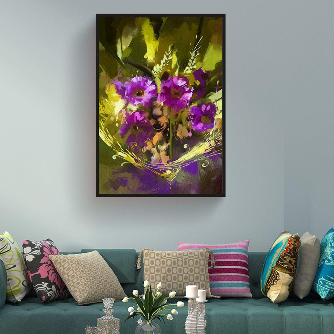 Yağlı Boya Görünümlü Natural Floral Kanvas Tablo
